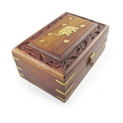 Desi Karigar  Wooden Antique Handcrafted Decorative Jewellery Storage Box Size(lxbxh-6x4x2.5) Inch