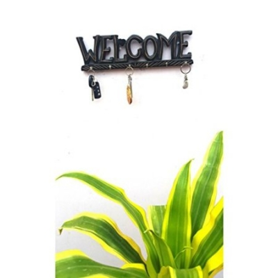 Desi Karigar Wooden Antique Welcome Shaped Key Holder With 6 Hooks Size (lxbxh-14x1x4) Inch