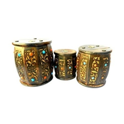 Desi Karigar Wooden Drum Shape Money Bank