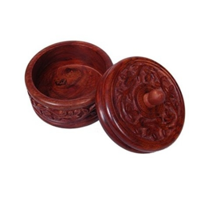 Desi Karigar Wooden Dry Fruit Box With Hand Carved Design. Sise (lxbxh-4x4x4) Inch