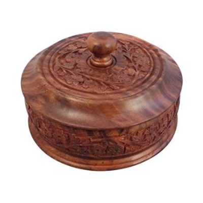 Desi Karigar  Wooden Dry Fruit Box With Hand Carved Design. Size (lxbxh-4x4x3) Inch