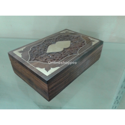Dersi Karigar Wooden Hand Carved Jewelery Box ( Brown, 6 X 4 X 2 Inch )