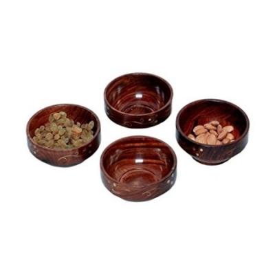 Desi Karigar Wooden Handdmade With Brass Work Bowl Size-lxbxh-4x4x2 Inch Set Of 4