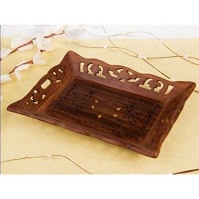 Desi Karigar Wooden Handicrafts Designed Brown Tray Carving Size(lxb-13x9) Inch