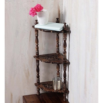 Desi Karigar Mini Wooden Corner Rack Side Table Home Decor Carved End Table Furniture Shelves