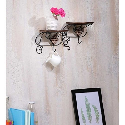 Desi Karigar Wall Shelve With Wood And Iron In 2 Step Shape