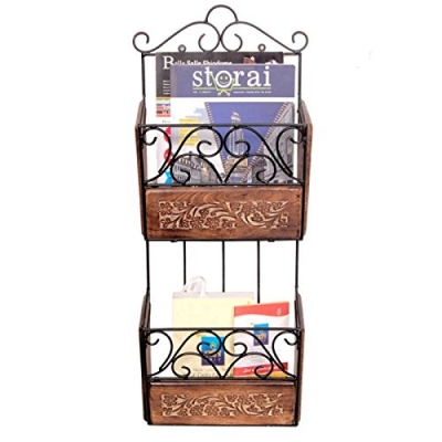 Desi Karigar Wooden & Iron Magazine Holder With Handcarving Work Size(lxbxh-11x4x28) Inch