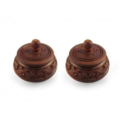 Desi Karigar Small Fancy Traditional Wooden Full Carved Shingaar Box Set Of 2