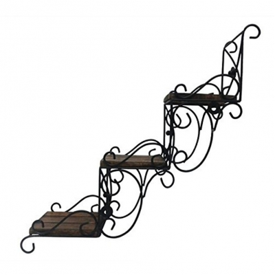 Desi Karigar Wooden Wall Hanging Shelve/ Shelf For Decoration. A Unique Wall Art In Stair Shape. You Can Use This As Decoative Piece Without Hanging Size(lxbxh-16.5x5.5x16.5) Inch
