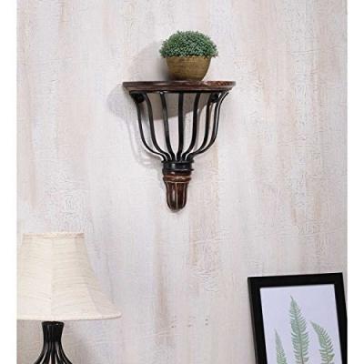 Desi Karigar Wooden & Heavy Wrought Iron Premium Quality Big Wall Bracket, Book Shelf D-shape (lxbxh-11x5.5x12) Inch