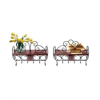 Desi Karigar Wooden & Wrought Iron Wall Bracket Cloth Hanger Set Of 2