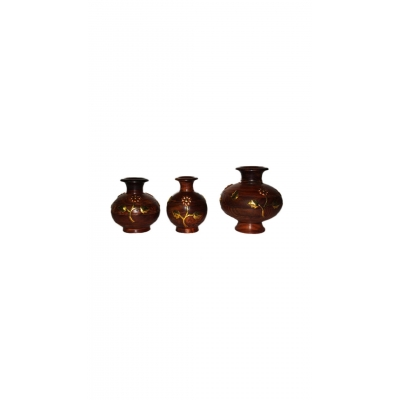 Desi Karigar Wooden Flower Pot Decorative Item Gift Home Decor House Kitchen Vase Showpiece