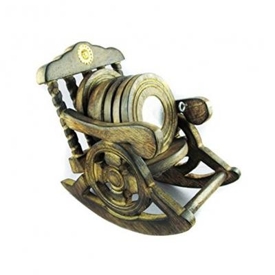 Desi Karigar Beautiful Miniature Rocking Chair Design Wooden Tea Coffee Coaster Set