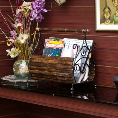 Desi Karigar Magazine Stand (basker Strip) (black) Home Decor Item
