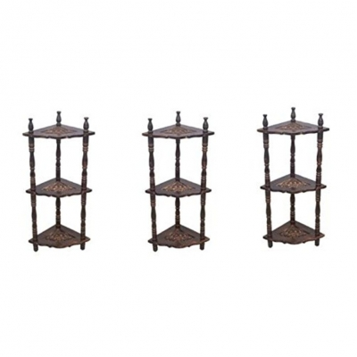 Desi Karigar Mini Wooden Corner Rack Side Table Home D�cor Carved End Table Furniture Shelves Combo Pack Of 3