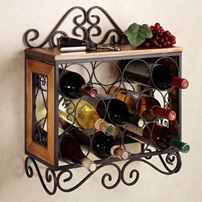 Desi Karigar Wooden & Wrought Iron Wall Hanging Bottle Rack