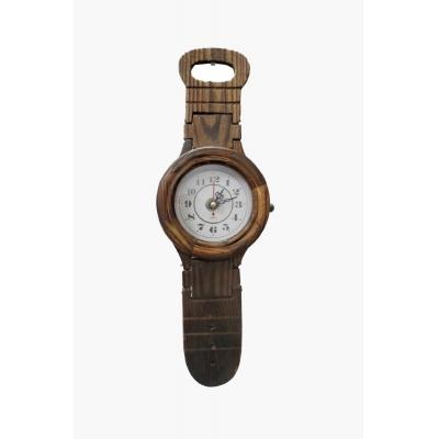 Desi  Karigar Wooden Belt Shape Clock ( Black, Dial Size - 4 Inch Length - 14 Inch