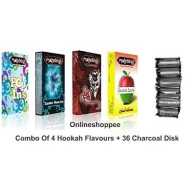 Desi Karigar Combo Pack Of 4 Hookah Flavours,36 Coal Disc