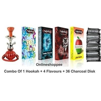Desi Karigar Combo Pack Of 1 Red Hookah,4 Flavours,36 Coal Disk