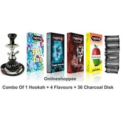 Desi Karigar Combo Pack Of 1 Black Hookah,4 Flavours,36 Charcoal Disk
