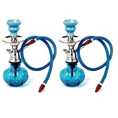 Desi Karigar Blue Unique Design 12 Inch Glass Hookah With Coal Pack And Flavor,pack Of 2