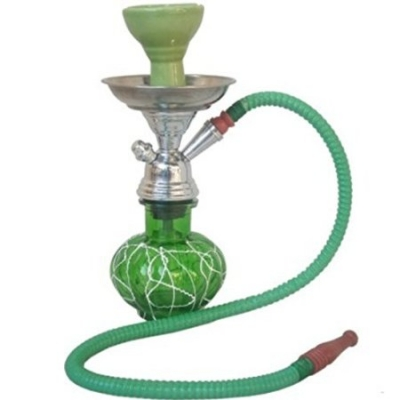 Desi Karigar Green Stylish 12 Inch Glass Hookah With Charcoal Pack And Flavor