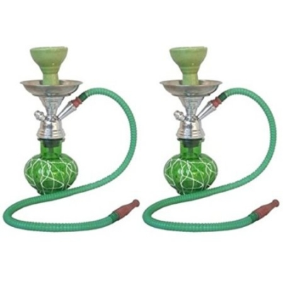 Desi Karigar Green Stylish 12 Inch Glass Hookah With Coal Pack And Flavor,pack Of 2