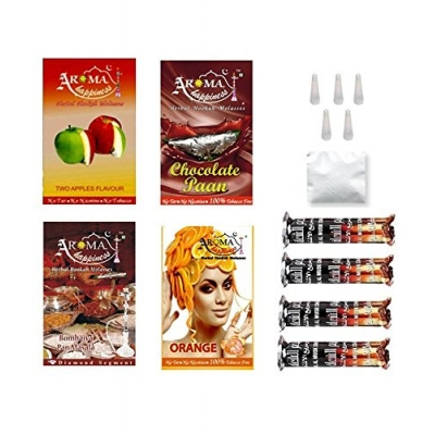 Desi Karigar  Aroma Happiness Herbal Hookah Flavour Combo Of 4 Pack Plus 4 Rolls Of Charcoal Plus Filter Tips Plus Foil