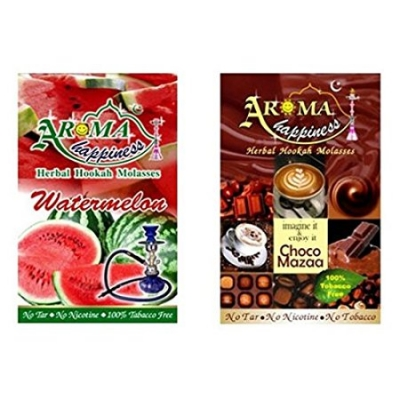 Desi Karigar Aroma Happiness Hookah Flavor - Pack Of 2 (watermelon - 50 G, Choco Mazaa - 50 G)