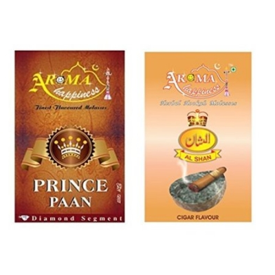 Desi Karigar Aroma Happiness Hookah Flavor - Pack Of 2 (prince Paan - 50 G, Cigar - 50 G)