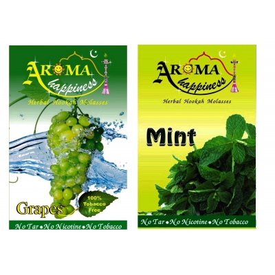 Desi Karigar Aroma Happiness Hookah Flavor - Pack Of 2 (grapes - 50 G, Mint - 50 G)