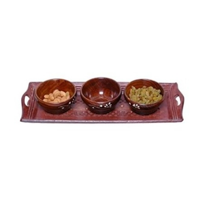 Desi Karigar Wooden Handmade 3 Dry Fruit Bowl & 1 Serving Tray