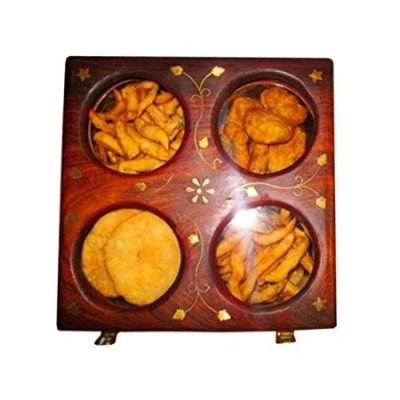 Desi Karigar  Wooden Holi Special Snacks And Dry Fruit Square Box