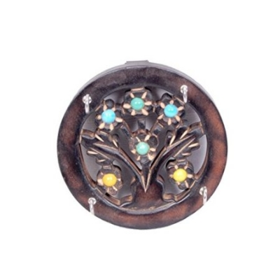Desi Karigar Wooden Key Holder In Round Shape Size (lxbxh-12x2x12) Cm