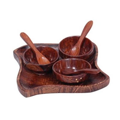 Desi Karigar  Wooden Kitchen Ware Dry Fruits Tray & Snacks With 3 Bowl & 3 Spoon.