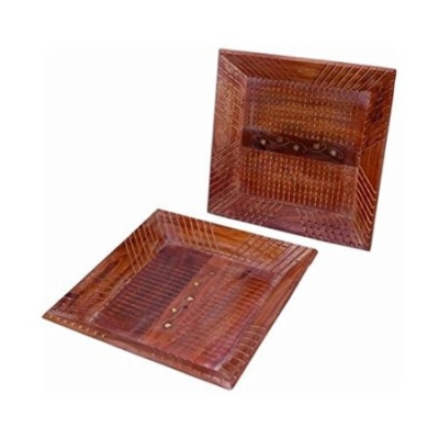 Desi Karigar  Wooden Fancy Design Serving Tray Size-lxbxh-14x9x1 Inch Set Of 2