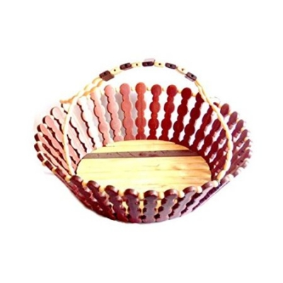 Desi Karigar Wooden Flower And Fruit Basket
