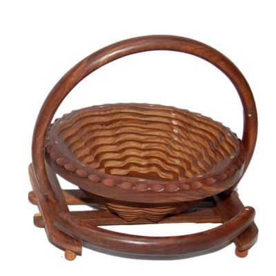 Desi Karigar Wooden Fruit Basket + Free 3 Tea Spoons ( Brown )