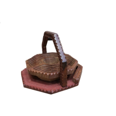 Desi Karigar Wooden Fruit Basket + Free 3 Tea Spoons ( Brown, 11*11 Inch )