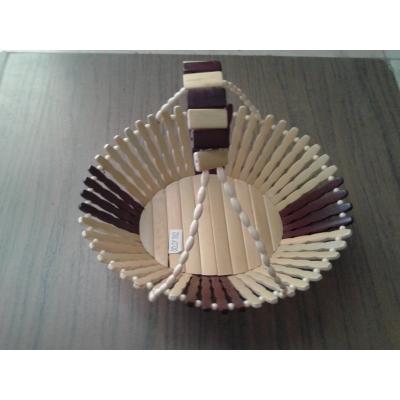 Desi Karigar Wooden Fruit Basket With Handle ( Yellow, 10 Inch )