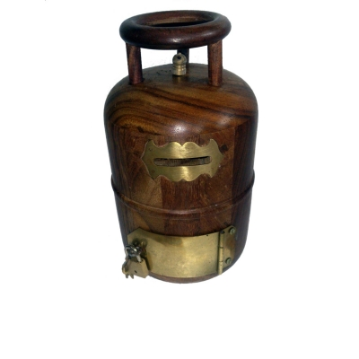 Desi Karigar Wooden Money Bank Cylinder Shape ( Brown, Height - 9 Inch Base Size - 5 Inch )
