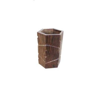 Desi Karigar Wooden Pen Stand ( Brown )