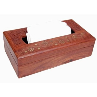 Desi Karigar Wooden Tissue Box With Brass And Carving Work