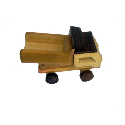 Desi Karigar Wooden Toy Dumper Truck ( Yellow, 7 X 3 X 5 Inch )