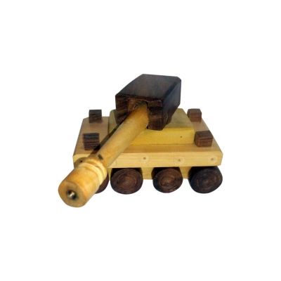 Desi Karigar  Wooden Toy Tank ( Yellow, 7 X 3 X 4 Inch )