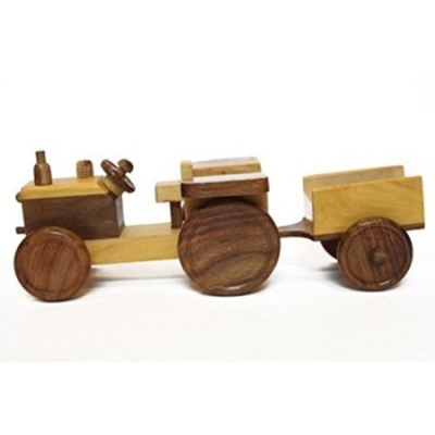 Desi Karigar Wooden Toy Tractor With Trolly
