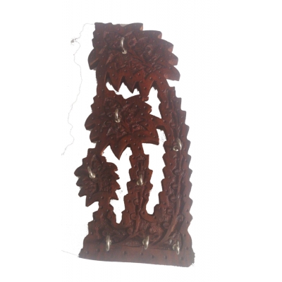 Desi Karigar Wooden Tree Shape Key Holder ( Brown, 12 Inch )