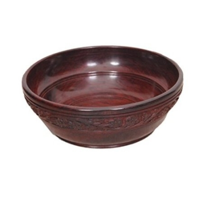 Desi Karigar Wooden With Handcarving Kitchen Ware Bowl Size (lxbxh-8x8x2.5) Inch