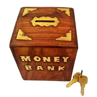 Desi Karigar Woooden With Brass Work Antique Money Bank