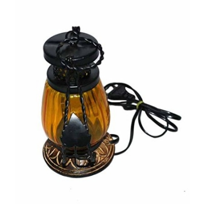 Desi Karigar Wooden & Iron Hand Carved Colored Electric Chimney Lantern Design Yellow